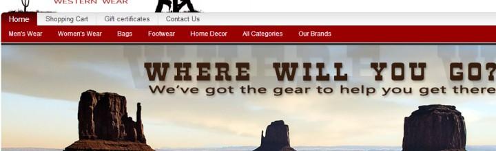 New Western Wear Online Store Front